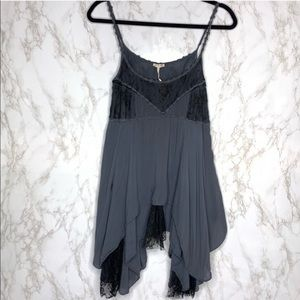Intimately Free People Pieced Lace Tunic Slip Gray